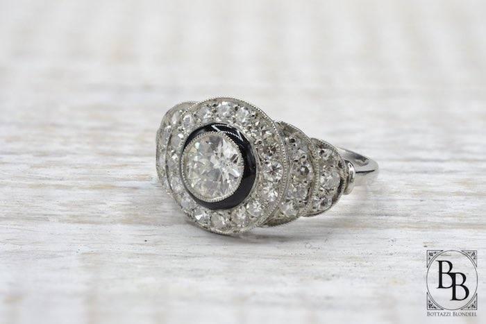 Bague platine Art Déco émail et diamants