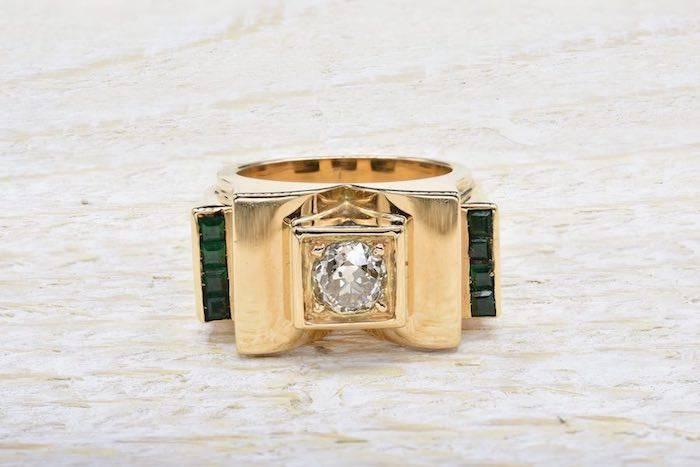 Bague 1940 diamant et émeraudes