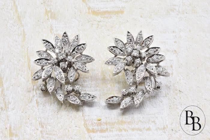 Boucles d'oreilles 1970 diamants en or blanc 18k