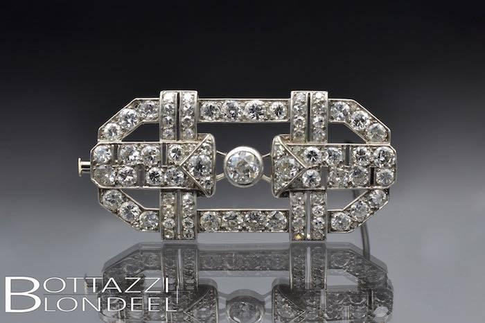 Broche Art Déco diamants en platine des années 30