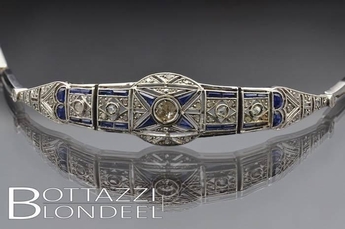 Bracelet Art Déco saphirs et diamants en or blanc 18k