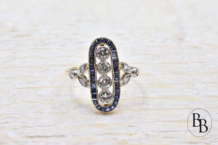 Bague ancienne d'occasion saphirs et diamants
