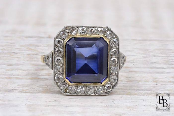 Bague ancienne saphir synthétique et diamants d'occasion