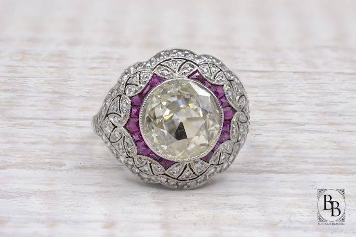 Bague Art Deco rubis diamants en platine