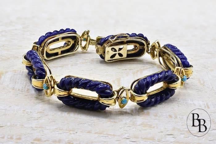 Bracelet Lapis Lazuli et turquoises en or jaune 18k