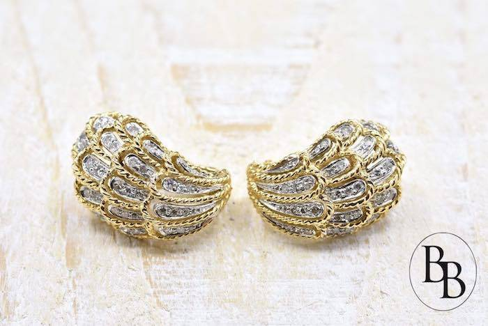 Boucles d'oreilles des années 1960 diamants en or jaune 18k