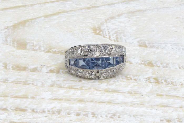 Bague 1930 aigues-marines et diamants en platine