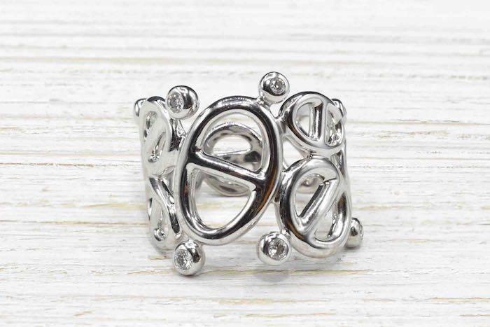 Bague Hermès diamants en or blanc 18k