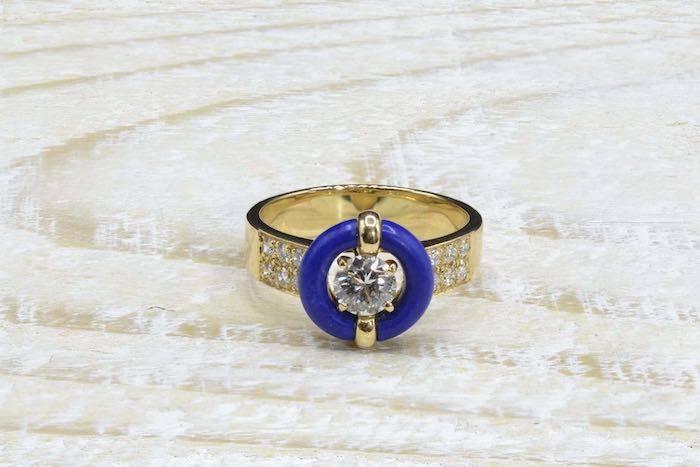 Bague Lapis Lazuli et diamants en or jaune 18k