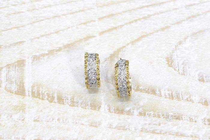 Boucles d'oreilles diamants en or blanc et or jaune 18k
