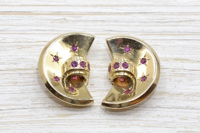 Boucles d'oreilles clips rubis en or jaune 18k