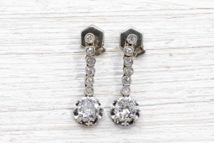 Boucles d'oreilles diamants anciennes