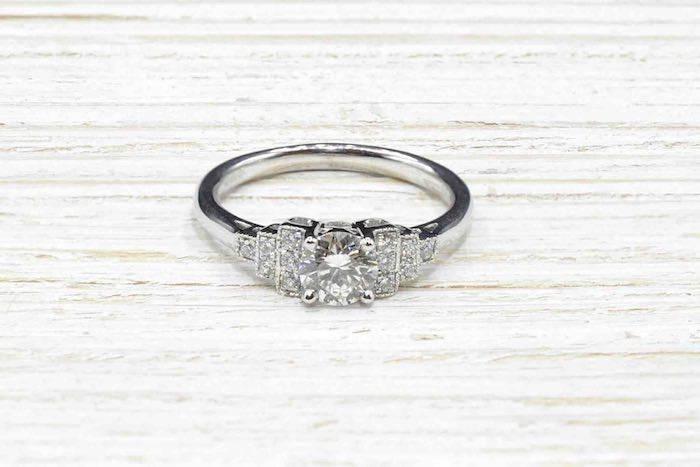 Solitaire diamant Art Déco de 0,52 carat