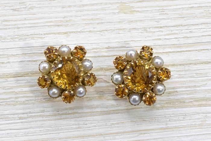 Boucles d'oreilles citrines et perles en or jaune 18k