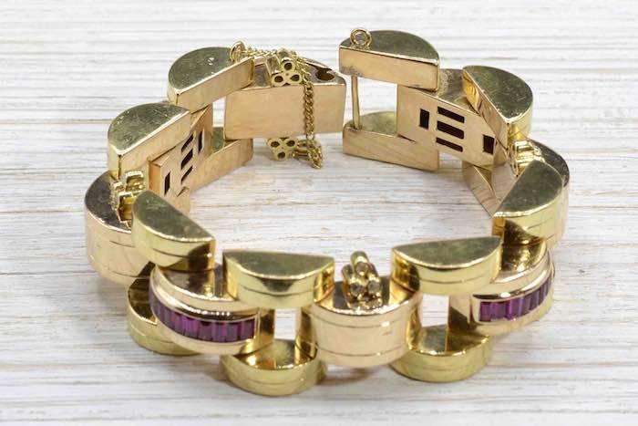 Bracelet des années 1940 Tank en or jaune 18k