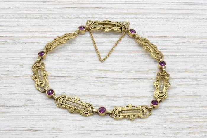 Bracelet ancien du 19e siècle rubis en or jaune 18k