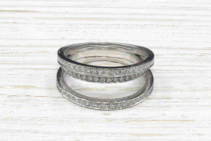 Bague multi anneaux en or blanc 18k