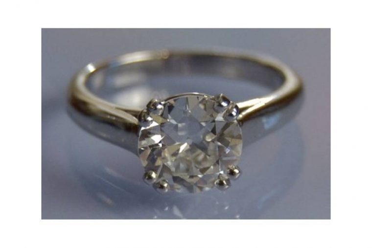 Bague or blanc gros diamant