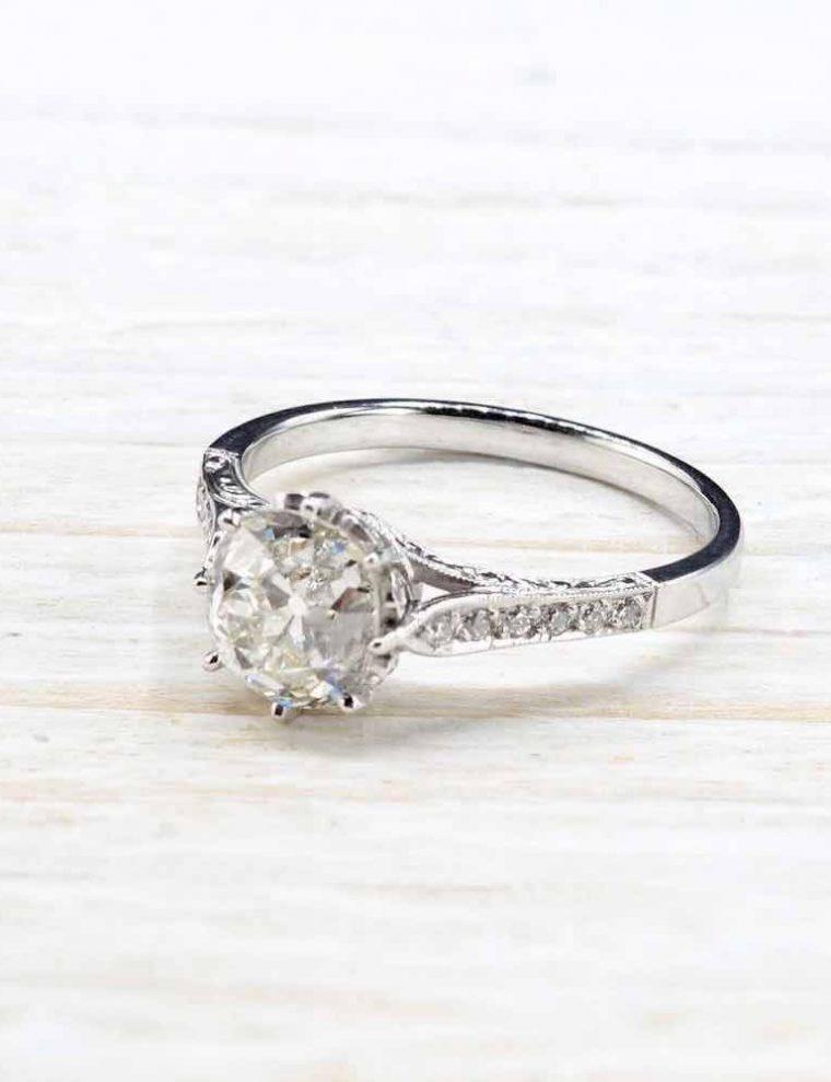 Alliance femme diamant or blanc