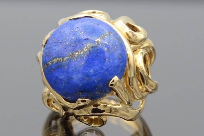 Bague or lapis lazuli femme