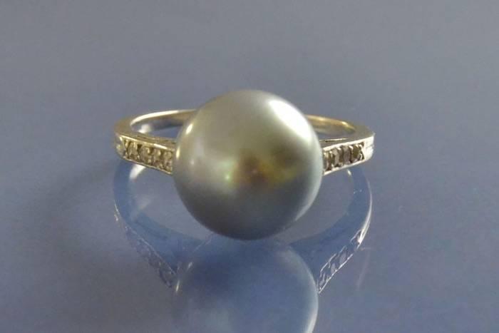 Bague perle de culture or blanc