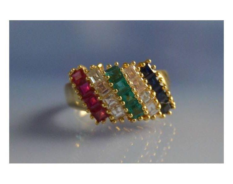 Bague pierres multicolores