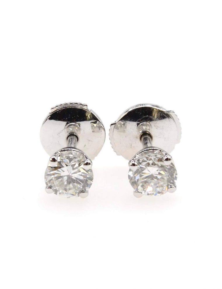 Boucle d oreille or blanc diamant