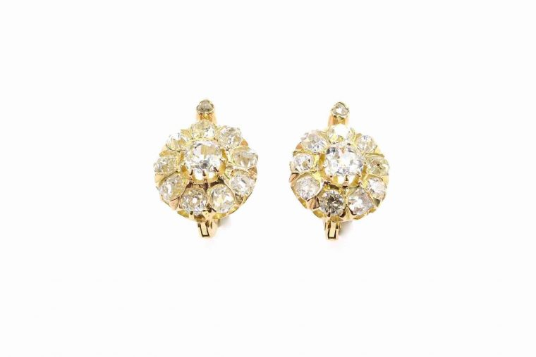 Boucle d oreille or jaune et diamant