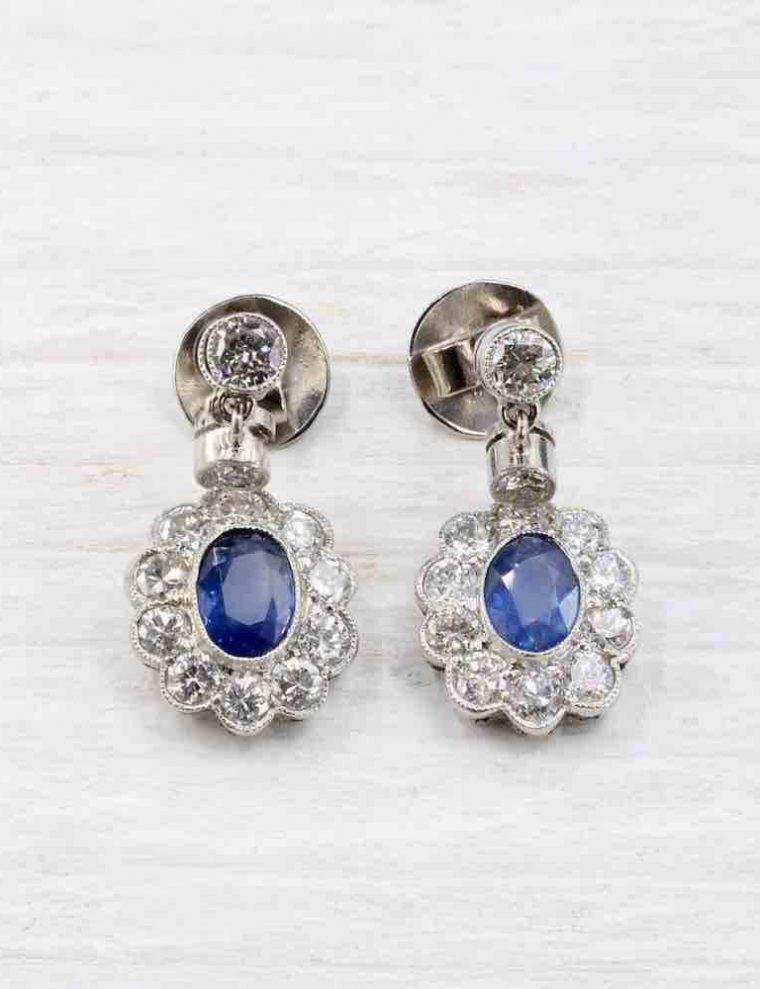 Boucle d oreille diamant saphir