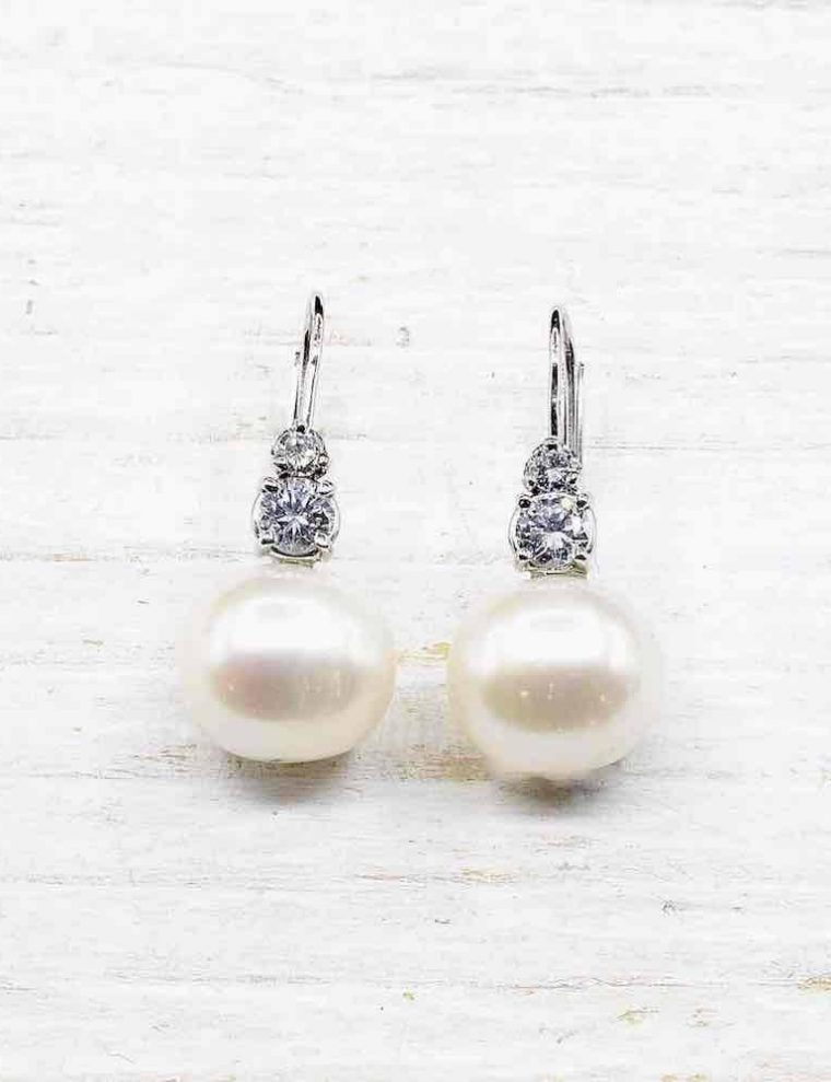 Boucle oreille perle de culture blanche