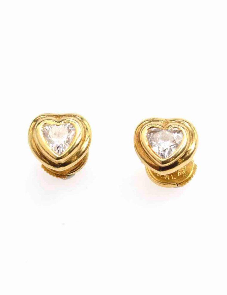 Boucles d oreilles or 750 jaune diamant