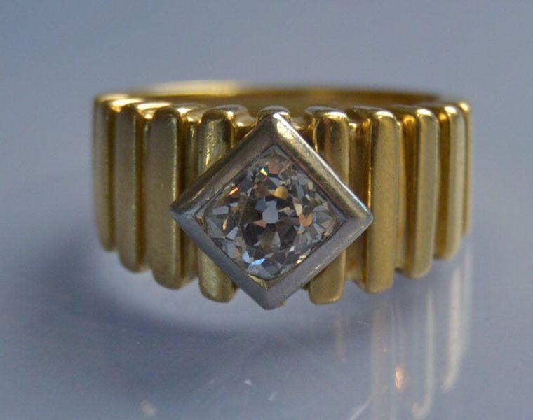 Bague 1940 or et diamant sertis sur platine