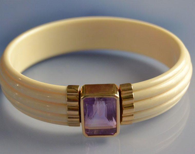 Bracelet jonc ivoire, or et améthyste