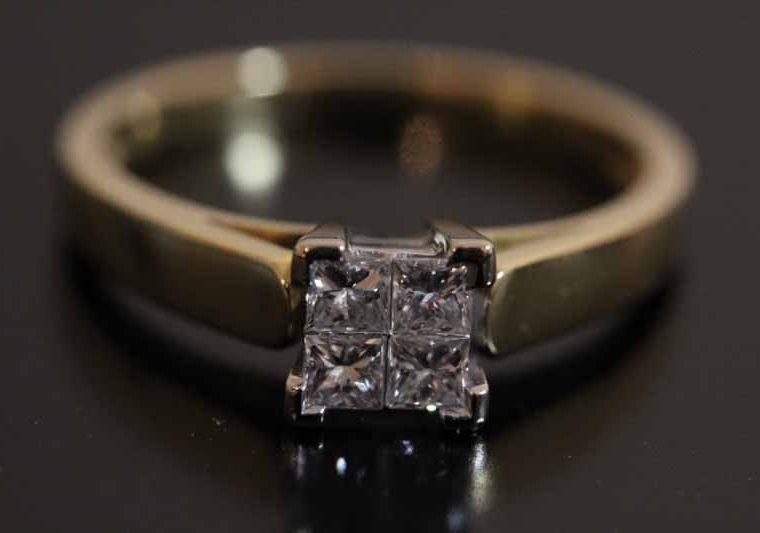 Bague 2 Ors et Diamants Princesse