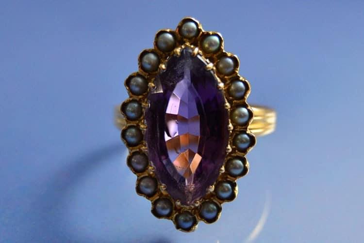 Bague 1900 améthyste et perles fines