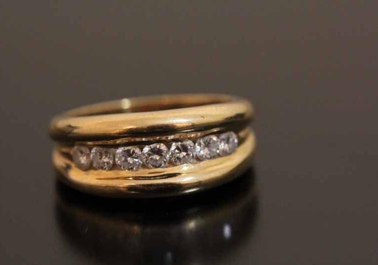 Bague d' occasion or et diamants
