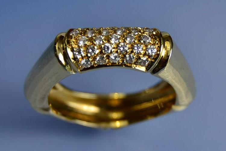 Bague diamants d'occasion en or jaune 18k