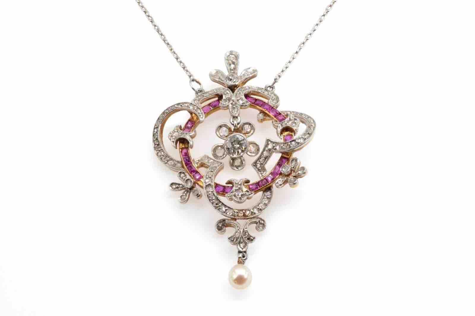 achat pendentif diamants rubis