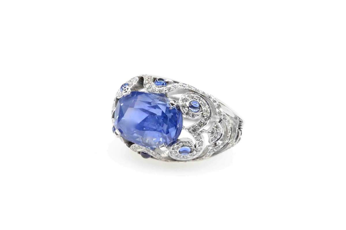 saphir ancien art deco diamants