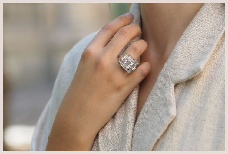 Bague Tank diamants en platine Wempe