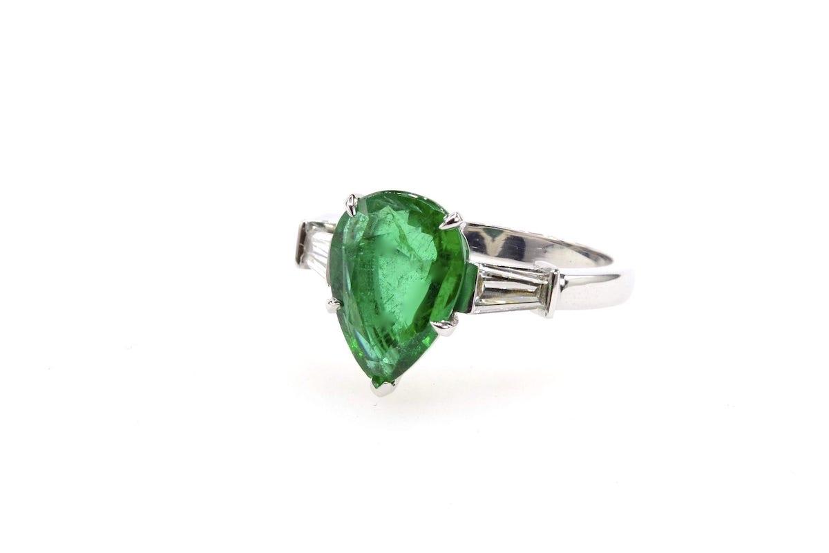 bague fiançailles emeraude diamants